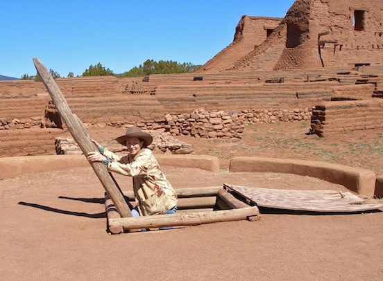 Doree coming out of the Kiva- Pecos National Monument, N.M.<br>Photograph: Thom Valenza