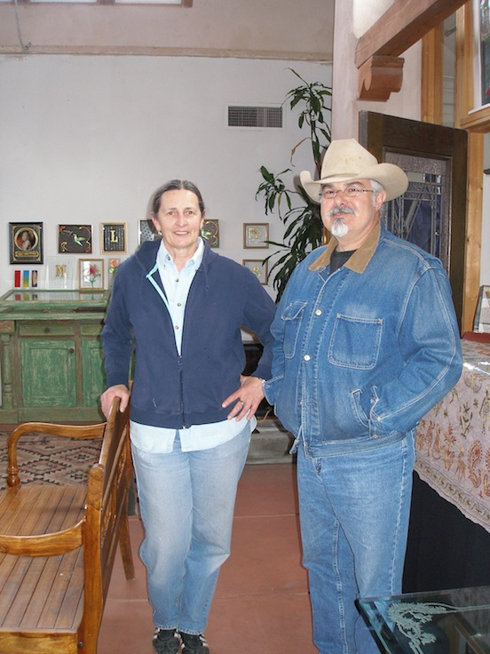 Ruth Dobbins, Artist, and Thom Valenza in Ruths etched & carved glass studio<br>Ruth Dobbins is a professional glass artist & consultant who runs Dobbins Studios in Santa Fe, N.M.  505-473-9203