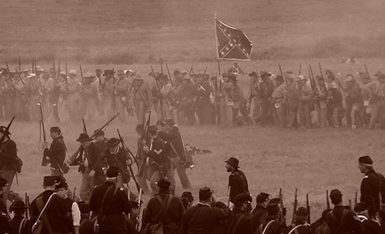 140th Reenactment at Gettysburg, Pa. 2003- The Charge<br>Photograph: D.Valenza