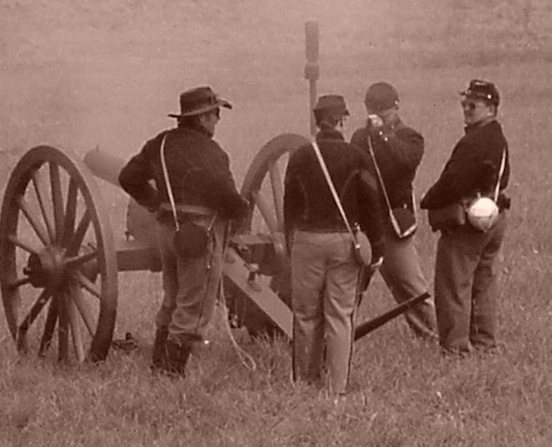 140th Reenactment at Gettysburg, Pa. 2003-  Cannon being fired<br>Photograph:D.Valenza