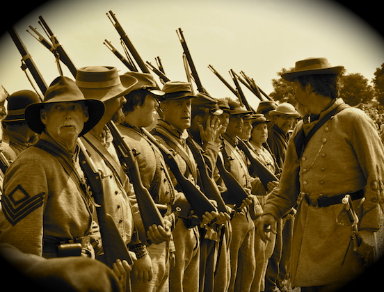 Reenactment at Gettysburg, Pa. 2011<br>Line up CSA reenactors