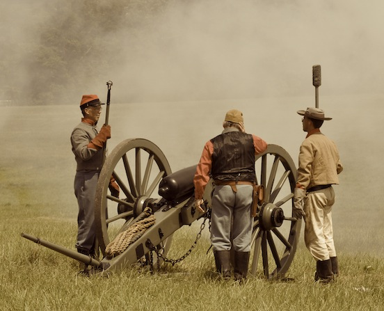 Reenactment at Gettysburg, Pa. 2011- Reenactors on the battlefield<br>Photograph: D.Valenza 2011