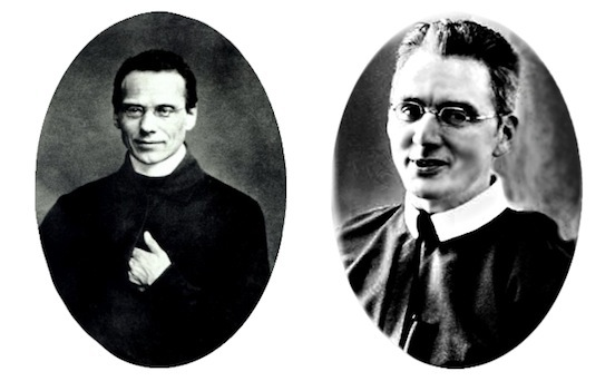 Blessed Fr. Francis Xavier Seelos, C.Ss.R circa 1855 (left) portrayed by actor Casey Groves ( right)<br>Actor Casey Groves wearing Historic EyeWear Company 1835-80 Oblong Leadville Tarnished Silver