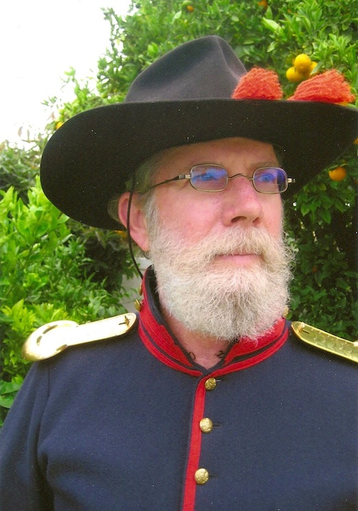 Jim Aspaas  1st Pennsylvania Volunteer Light Artillery,Battery B<br>Jim is wearing the 1835-80 Oblong Spectacle in Naugatuck Valley Tarnished Brass