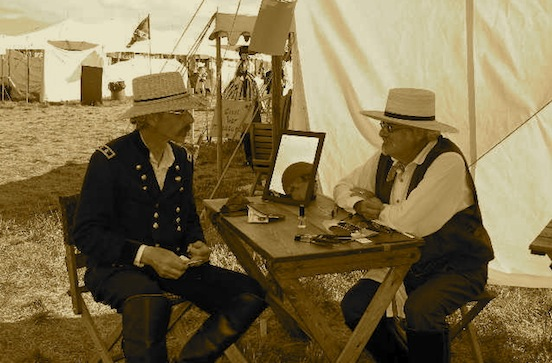 General Slocum and Tom under our tent at the 150th<br>