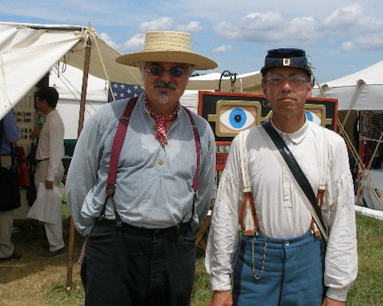 Thom and Chris Purrone at 150th Gettysburg<br>Chris purchased our specs online. He stopped by our tent to meet us. Here he is with Thom trying to keep cool in the extreme heat!