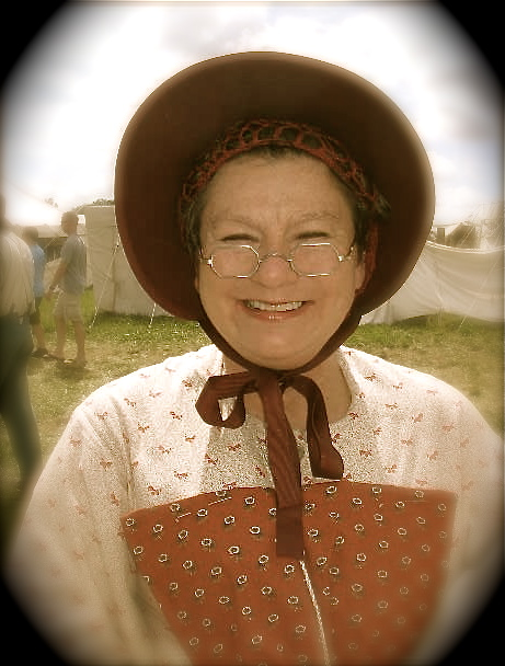 Karen Hasenauer Godwin wearing the Octagon in Tombstone Silver Dust<br>Karen at the 150th Gettysburg stopped by our tent for some new specs.