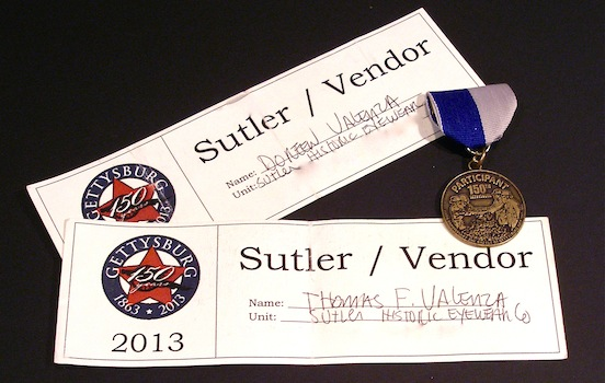 Historic EyeWear Company Sutler / Vendor certificate<br>150th Gettysburg 2013