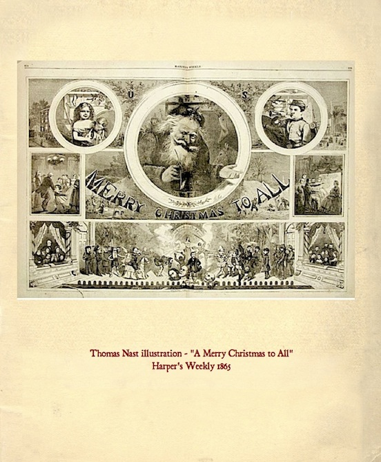 "Thomas Nast illustration<br>""A Merry Christmas to All"" is a Thomas Nast illustration that appeared in Harper`s Weekly 1865."