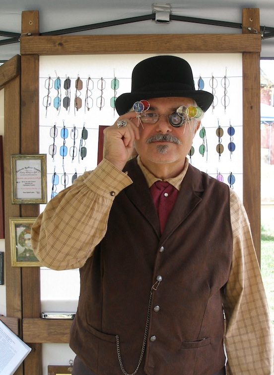 Tom Valenza at the  The International Steampunk City, Morristown, N.J.<br>Tom created these special specs for this event