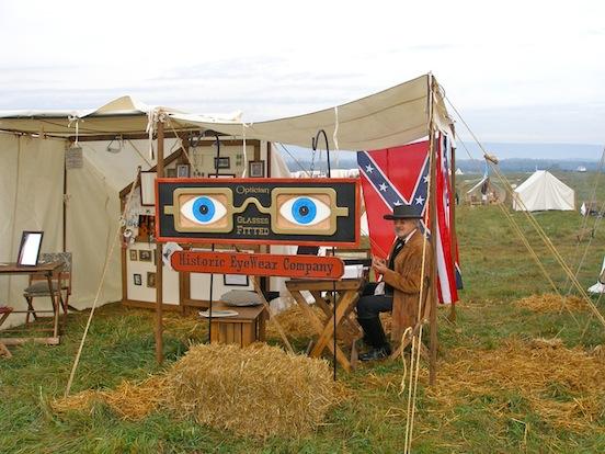 Thomas Valenza, Proprietor/ Historic EyeWear Company<br>Thomas under the Historic EyeWear tent- Cedar Creek
