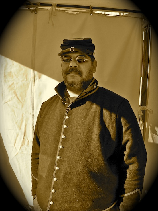Ron Wells from New Jersey at the Cedar Creek reenactment<br>Ron was having fun at his first reenactment