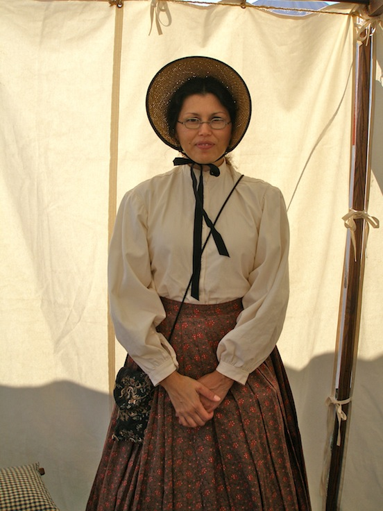 "Jennifer D""Arezzo <br> At the 149th Cedar Creek Battle Reenactment.Jennifer is wearing the 1835-80 Oblong in Naugatuck Valley Tarnished Brass"