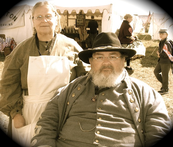 Paul Sanko and his wife Kathryn<br>Living Historians were at Cedar Creek Battle Reenactment.  They are retired nurses. Kathryn is wearing the 1835-80 Oval Small in Silver City Silver