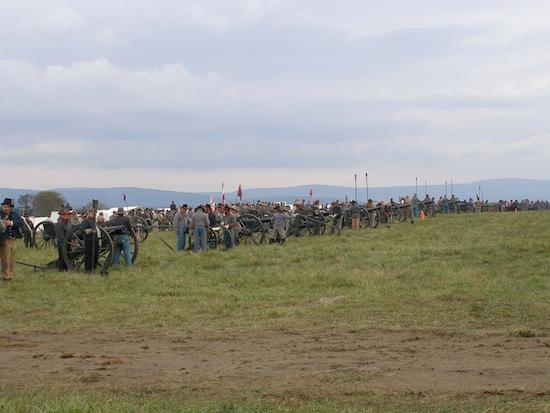 CSA Artillery line up- reading for battle<br>Reenactment CSA troops at the 149th Cedar Creek Battle reenactment.