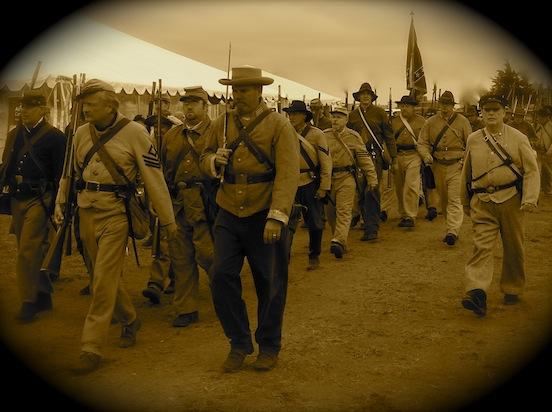 Soldiers marching<br>149th Cedar Creek Battle Reenactment, Oct. 2013