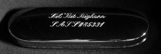 Historic Eyewear Company 1800`s Spectacle Case  with custom engraving<br>Lil` Bit Bighorn Single Action Shooting Society