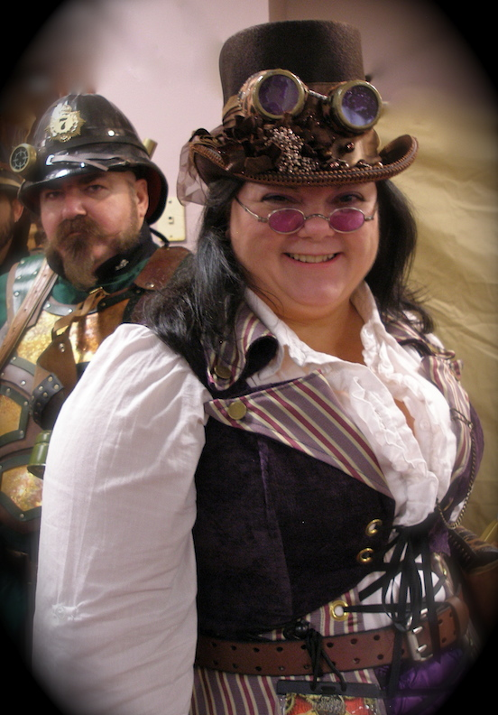 Kathi Marlow,  Paul Fasciana ( in the background)<br>Steampunk World`s Fair, 2014 Piscataway, NJ