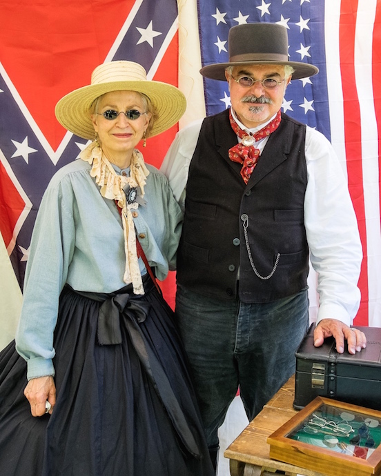 Doreen & Thomas Valenza, photograph by Michael J. Milchanowski<br>At the N.J.Civil War Heritage Association Encampment, Allaire State Park, May 2015 Doree is wearing the Blued Steel Oval Small