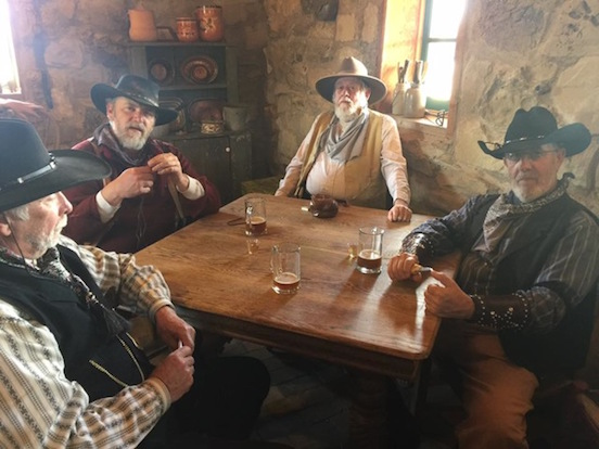 "Al Hader ( in the spectacles) and his Cowboys pals gambling...<br>Movie- ""The Peacemakers- The Night of The Ripper. It is a Great American Adventure ride called The Reel West."