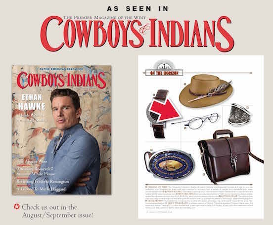 Our Blued Steel Oval <br>Bethlehem Blued Steel Oval spectacles were featured in Cowboy&Indians Aug/Sept issue!