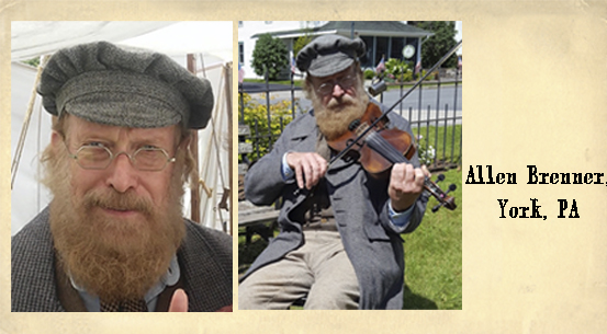 Allen Brenner<br>On the fiddle wearing our 1835-80 Octagon spectacles in Tombstone Silver Dust