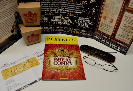 We went to see Josh Groban in the Great Comet of 1812. He is wearing our specs<br>Really enjoyed the show- this photo shows our keepsakes from the show