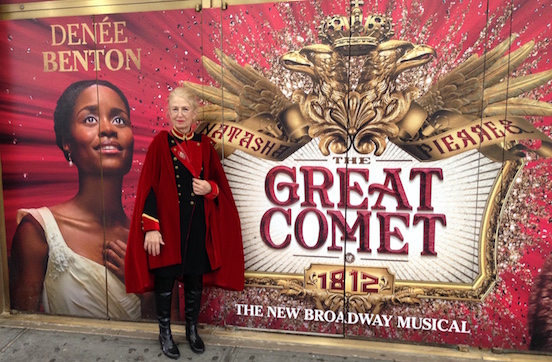 Doreen Valenza wearing the Oval Small in Tombstone Silver Dust<br>Attending the Broadway show: The Great Comet of 1812