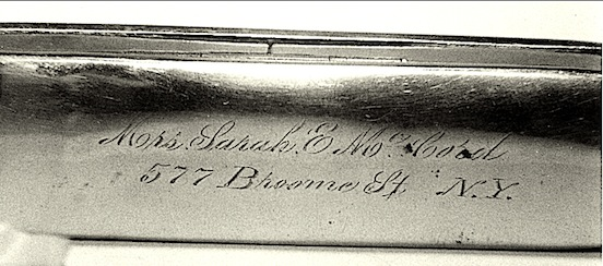 Original antique spectacle case- Mrs. Sarah E. Mc Cord, 577 Broome Street, N.Y.<br>