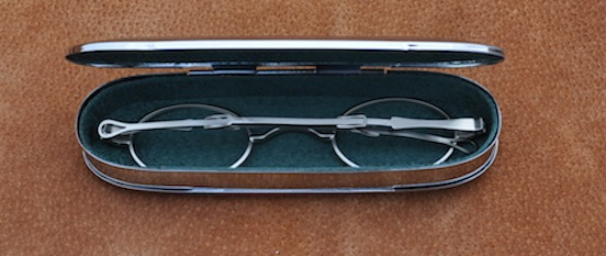Historic Eyewear Company 1800`s Flip-Top Spectacle Case interior view with spectacles<br>