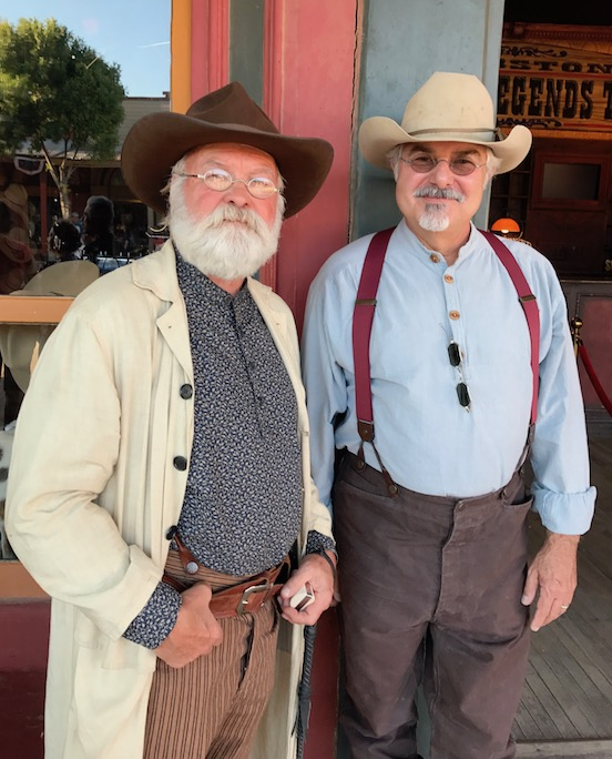 Harold Simpson (AKA Charlie Storms) with Tom Valenza in Tombstone, AZ<br>Tom said to Harold- your are wearing our specs... Harold replied I got them from you!  We met for the first time in Tombstone.