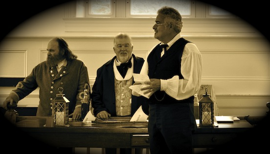 Thom Valenza , portraying spectacle peddler at Gathering of Civil War Eagles, Winchester, Va., 2012<br>