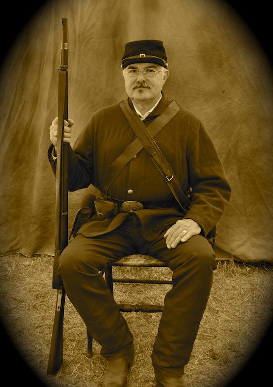 Thom wearing Historic EyeWear Company 1835-80 Octagon Tombstone Silver Dust<br>