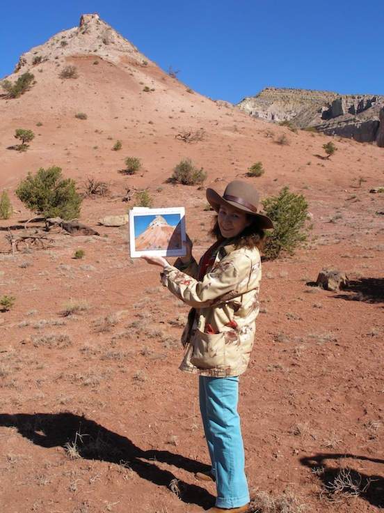 Where Georgia O'Keeffe painted at Ghost Ranch, Abiquiu, NM. 2012<br>Doree standing in front of mountain that Georgia O'Keeffe painted at Ghost Ranch