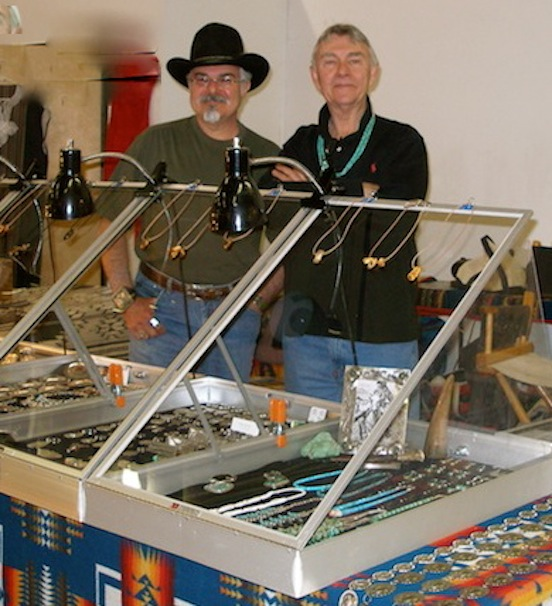 Thom Valenza with Thom DeWitt, master jeweler, Santa Fe, N.M.<br>Thom De Witt is a silversmith who creates one of a kind southwest inspired jewelry