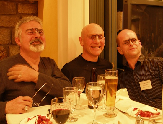 Wearing your dessert...<br>Thom Valenza, Michael Lebby,Neil Handley enjoy the dessert at the Ocular Heritage Society dinner held at The Fleishman`s home