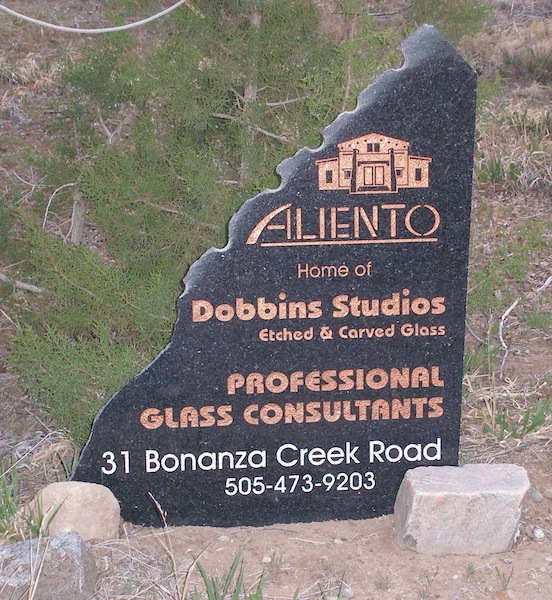 Dobbins Glass Studio, Santa Fe, N.M.<br>We stayed at the Aliento B & B which is also the home of Dobbins Studios who specialize in etched and carved glass.
