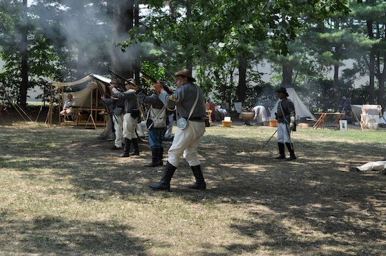 Reenactment at Woodbridge, N.J. 2011. CSA skirmishers<br>Photograph: D.Valenza