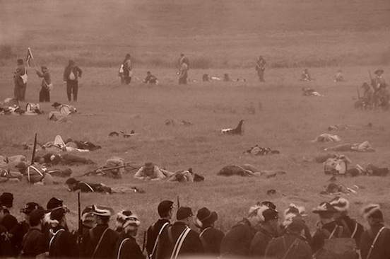 140th Reenactment at Gettysburg, Pa.  After the battle<br>Photograph: D. Valenza