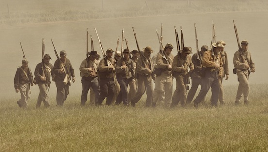 Reenactment at Gettysburg, Pa. 2011- Reenactors on the battlefield<br>Photograph: D.Valenza