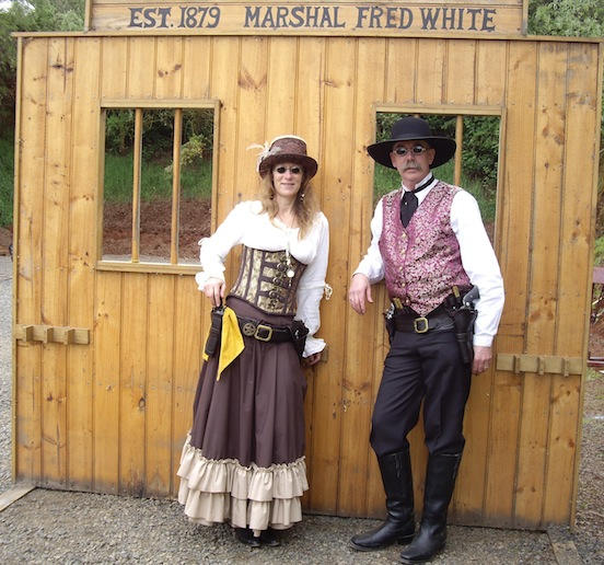 Leonie & Graeme Macreadie, Victoria, Australia, local SASS event<br>Wearing  HEC 1835-80 Oval Spectacles
