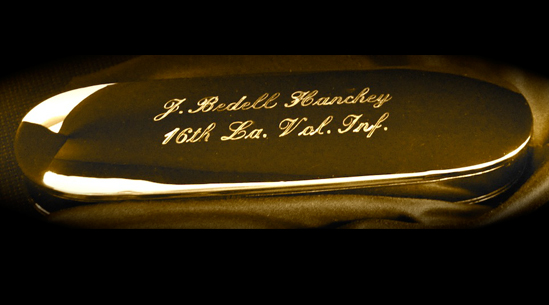 Historic Eyewear Company 1800`s Spectacle Case  with custom engraving<br>J. Bendell Hanchey, 16th Vol. Inf.