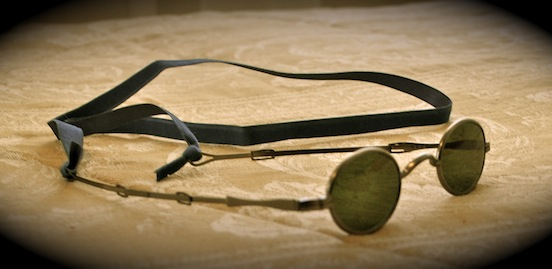 1835-80 Oval Small Spectacles <br>1835-80 Oval Small with protective lenses and ribbon tie