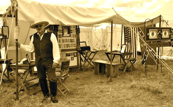 Thomas F. Valenza, proprietor/ sutler Historic EyeWear Company<br>Thomas F. Valenza ready to welcome visitors