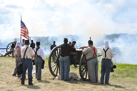 The Federal artillery firing cannons during Pickett's Charge<br>