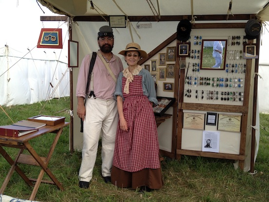 John Ream lll and Doreen Valenza <br>At the 150th Gettysburg 2013 in the Historic EyeWear Company sutler tent.