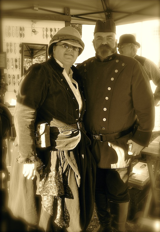 Kathi Marlow and Paul Fasciana at the International Steampunk City event<br>International Steampunk City, Morristown, NJ Oct 2013