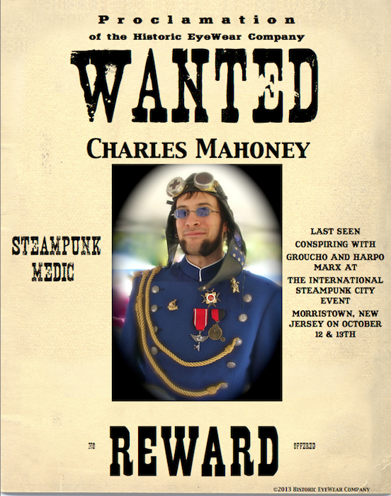 Charles Mahoney, Steampunk wanted poster<br>