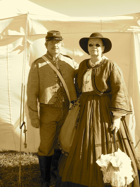Paula and her husband Bob Abel at the 149th Cedar Creek Battle Reenactment<br>We met Paula at the 150th Gettysburg where she purchased specs for herself and her husbnad Bob. Bob was busy on the field- he stopped by our tent at Cedar Creek to have Tom personally adjust his specs.