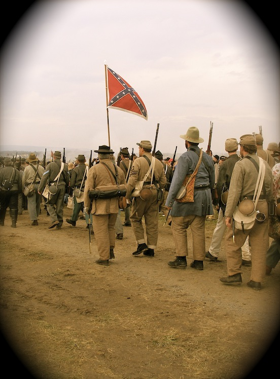 CSA soldiers on the march<br>